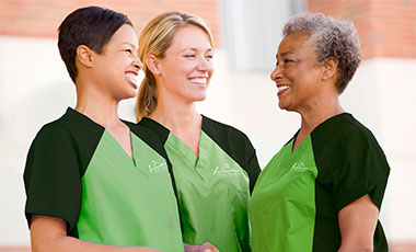 Smiling caregivers