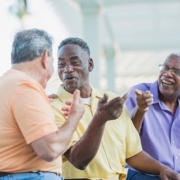 Senior men having a good laugh